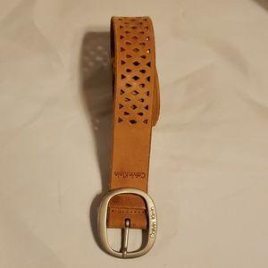 Calvin Klein leather belt with brass buckle